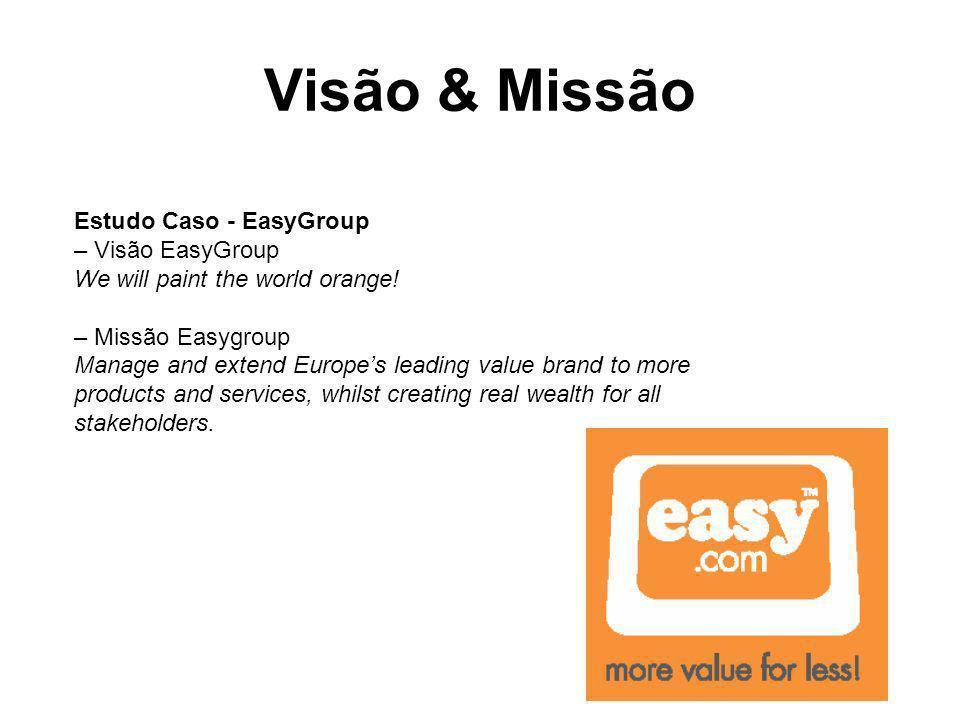 Visão & Missão Estudo Caso - EasyGroup – Visão EasyGroup We will paint the world orange! – Missão Easygroup Manage and extend Europes leading value br