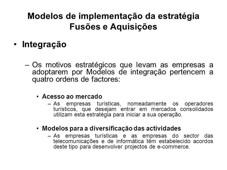 Modelos de implementação da estratégia Fusões e Aquisições Integração –Os motivos estratégicos que levam as empresas a adoptarem por Modelos de integr