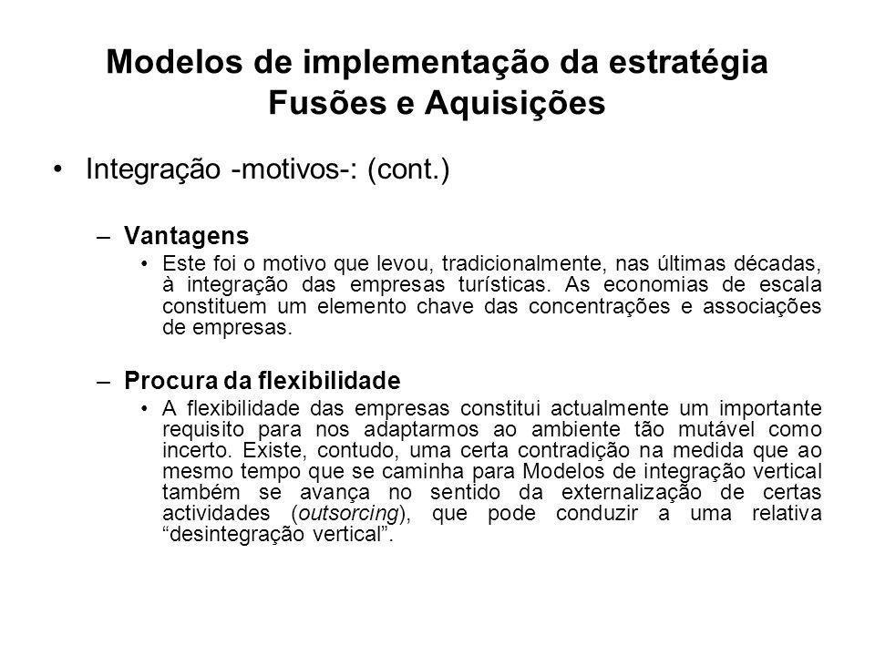 Modelos de implementação da estratégia Fusões e Aquisições Integração -motivos-: (cont.) –Vantagens Este foi o motivo que levou, tradicionalmente, nas