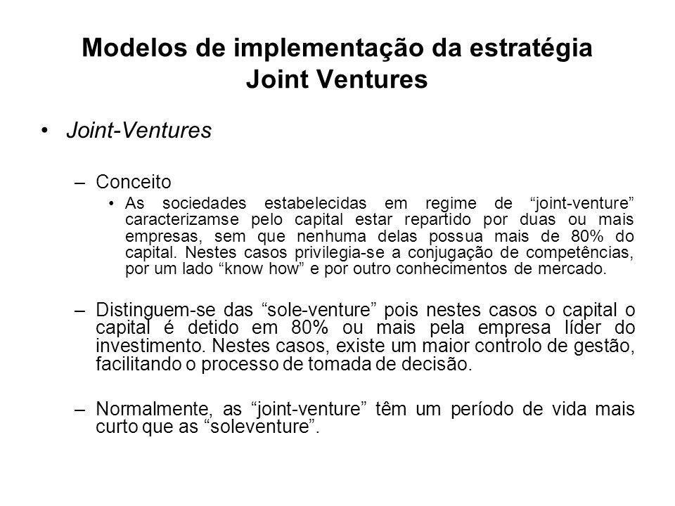 Modelos de implementação da estratégia Joint Ventures Joint-Ventures –Conceito As sociedades estabelecidas em regime de joint-venture caracterizamse p