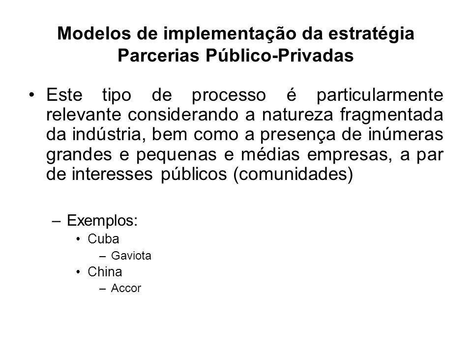 Modelos de implementação da estratégia Parcerias Público-Privadas Este tipo de processo é particularmente relevante considerando a natureza fragmentad