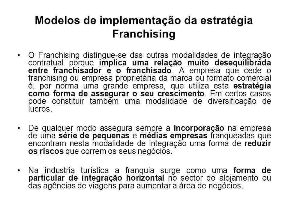 Modelos de implementação da estratégia Franchising O Franchising distingue-se das outras modalidades de integração contratual porque implica uma relaç
