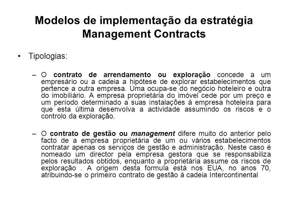 Modelos de implementação da estratégia Management Contracts Tipologias: –O contrato de arrendamento ou exploração concede a um empresário ou a cadeia