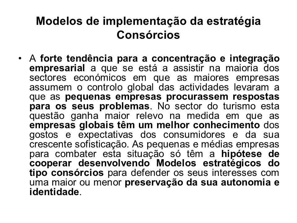 Modelos de implementação da estratégia Consórcios A forte tendência para a concentração e integração empresarial a que se está a assistir na maioria d