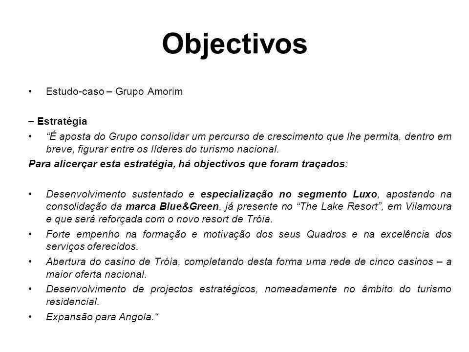 Estudo-caso – Grupo Amorim – Estratégia É aposta do Grupo consolidar um percurso de crescimento que lhe permita, dentro em breve, figurar entre os líd