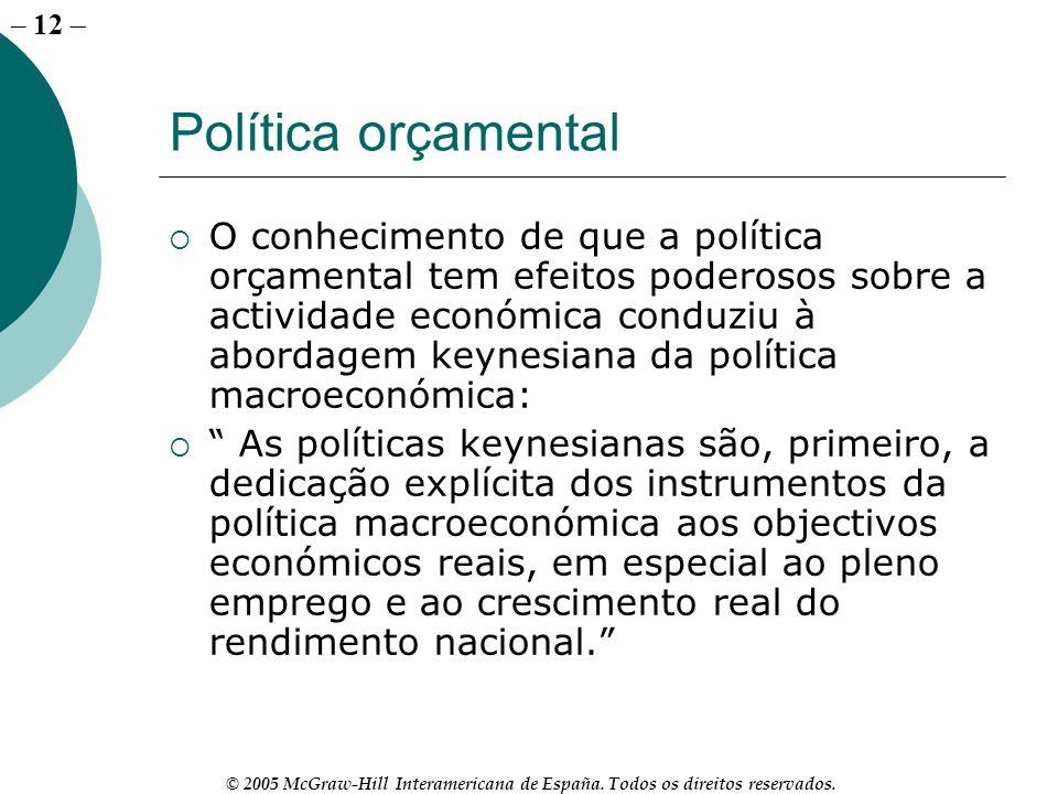 – 12 © 2005 McGraw-Hill Interamericana de España. Todos os direitos reservados. Política orçamental O conhecimento de que a política orçamental tem ef