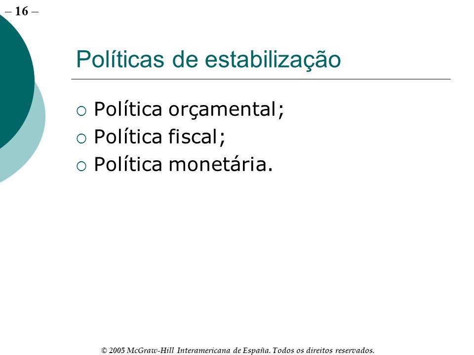 – 16 © 2005 McGraw-Hill Interamericana de España. Todos os direitos reservados. Políticas de estabilização Política orçamental; Política fiscal; Polít