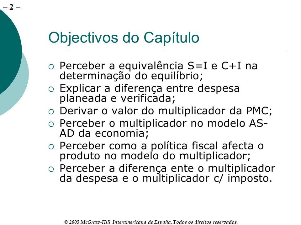 – 2 © 2005 McGraw-Hill Interamericana de España. Todos os direitos reservados. Objectivos do Capítulo Perceber a equivalência S=I e C+I na determinaçã