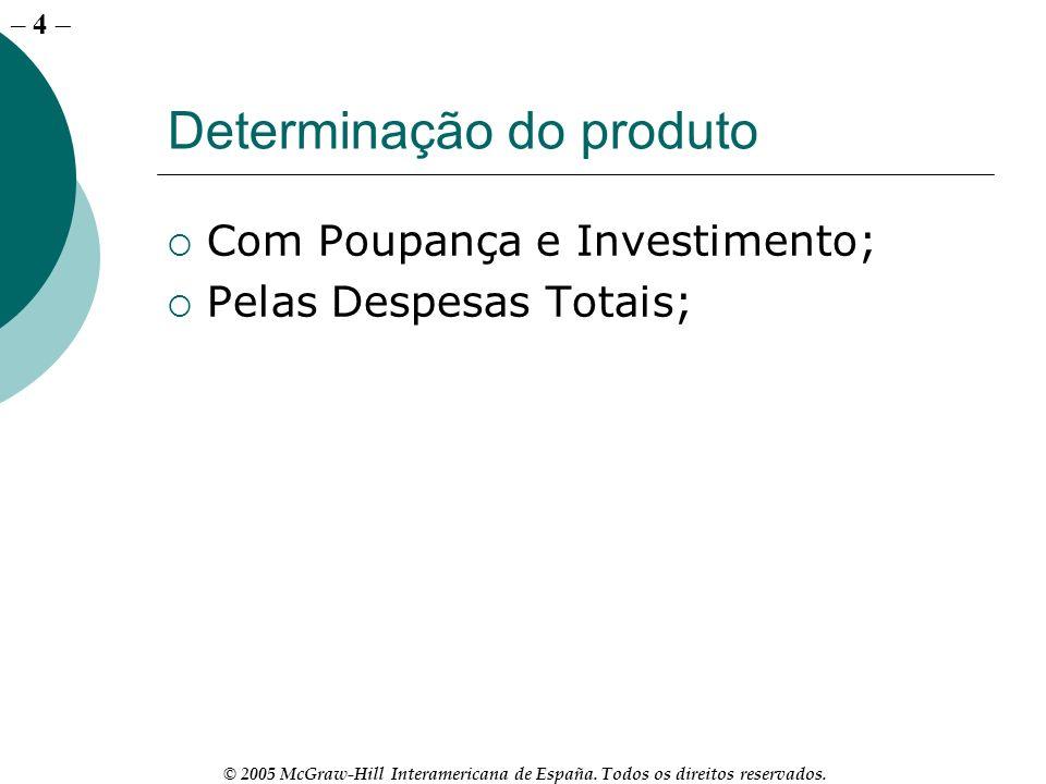 – 4 © 2005 McGraw-Hill Interamericana de España. Todos os direitos reservados. Determinação do produto Com Poupança e Investimento; Pelas Despesas Tot
