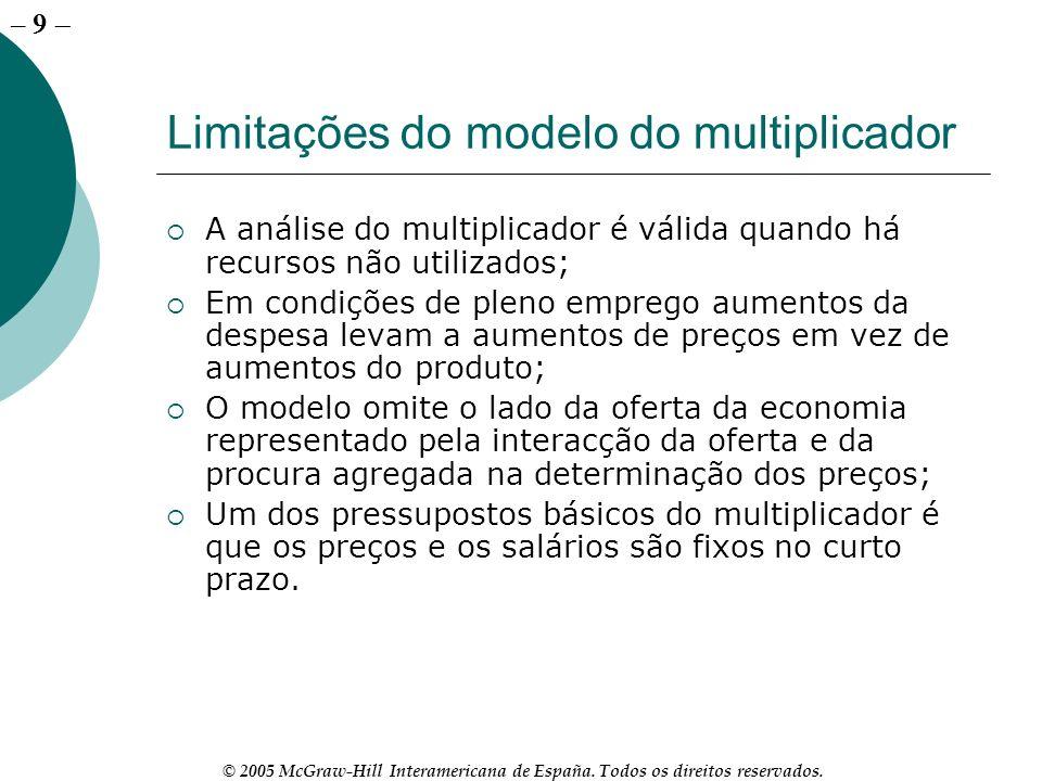 – 9 © 2005 McGraw-Hill Interamericana de España. Todos os direitos reservados. Limitações do modelo do multiplicador A análise do multiplicador é váli
