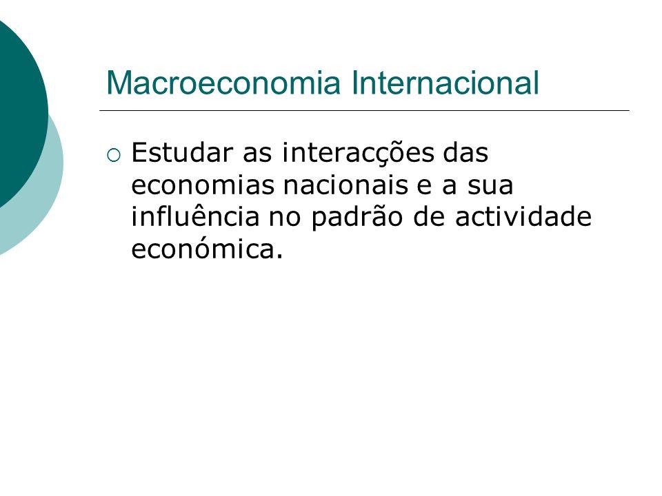 Macroeconomia Internacional Estudar as interacções das economias nacionais e a sua influência no padrão de actividade económica.