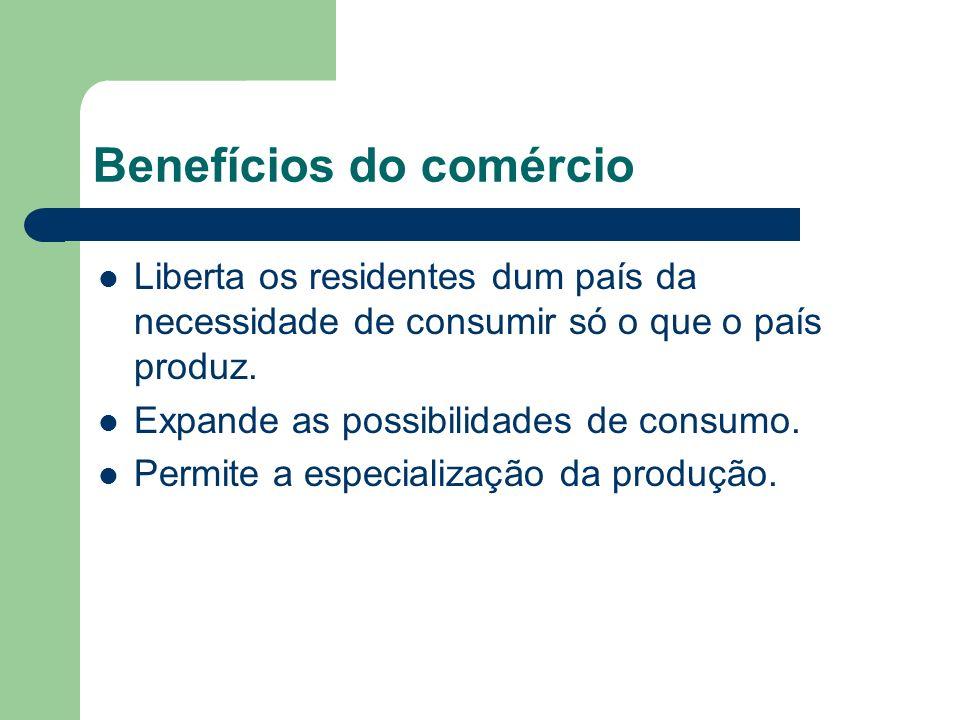 Benefícios do comércio Liberta os residentes dum país da necessidade de consumir só o que o país produz.