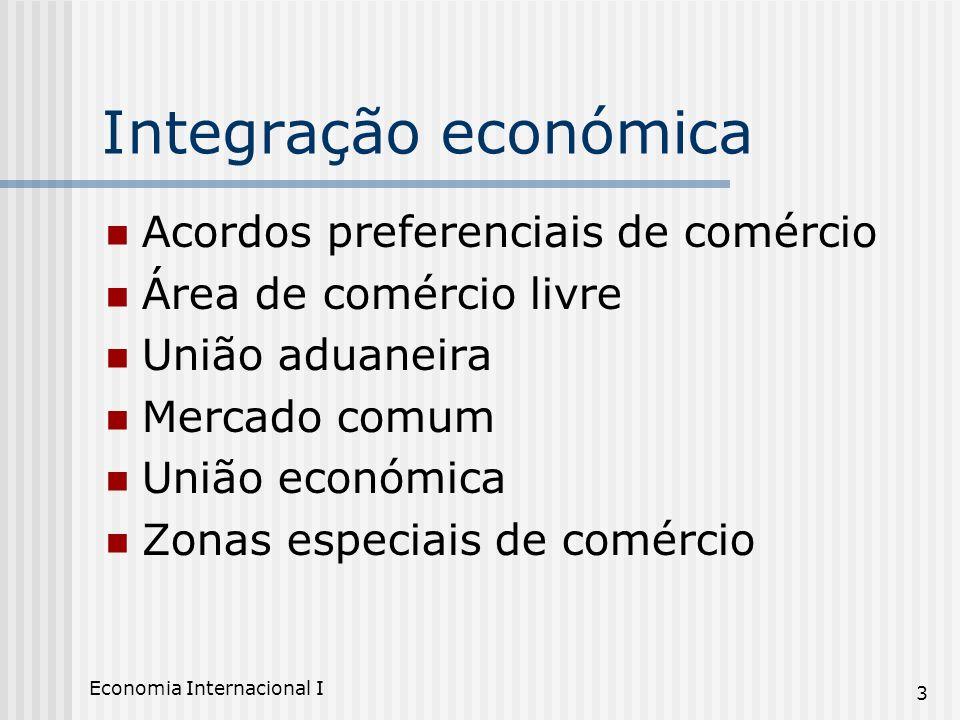 Economia Internacional I 3 Integração económica Acordos preferenciais de comércio Área de comércio livre União aduaneira Mercado comum União económica