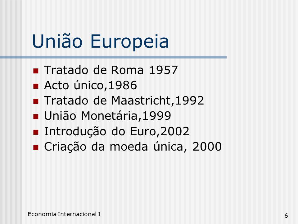 Economia Internacional I 6 União Europeia Tratado de Roma 1957 Acto único,1986 Tratado de Maastricht,1992 União Monetária,1999 Introdução do Euro,2002