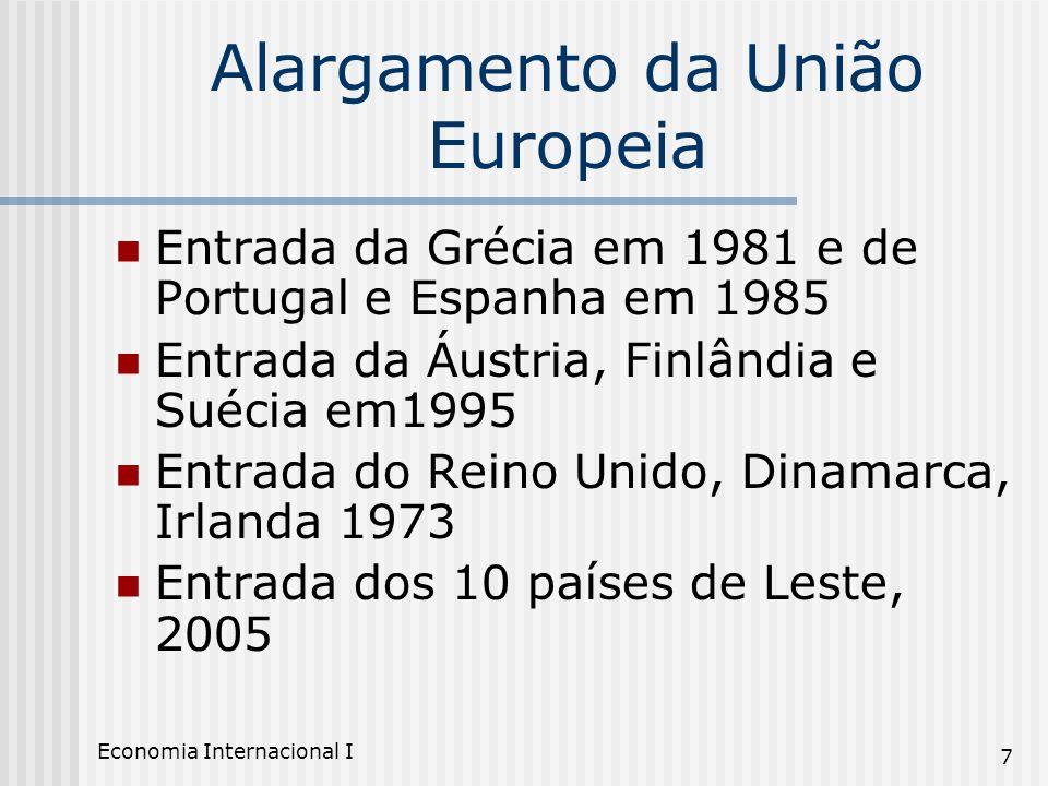Economia Internacional I 7 Alargamento da União Europeia Entrada da Grécia em 1981 e de Portugal e Espanha em 1985 Entrada da Áustria, Finlândia e Sué