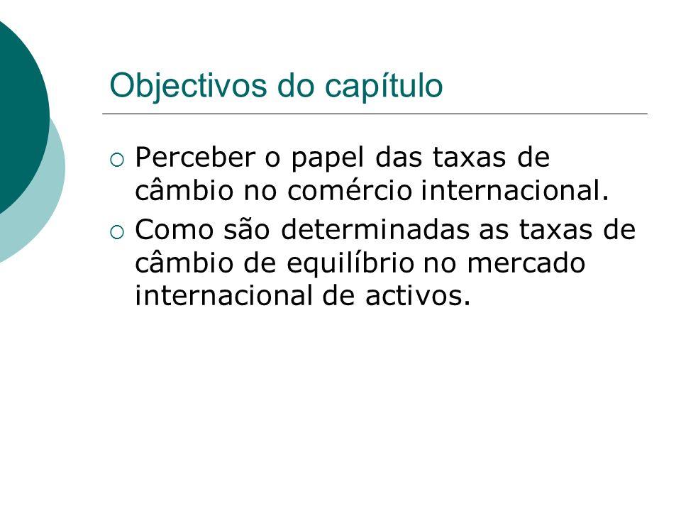 Objectivos do capítulo Perceber o papel das taxas de câmbio no comércio internacional. Como são determinadas as taxas de câmbio de equilíbrio no merca