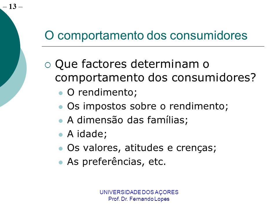 – 13 UNIVERSIDADE DOS AÇORES Prof. Dr. Fernando Lopes O comportamento dos consumidores Que factores determinam o comportamento dos consumidores? O ren