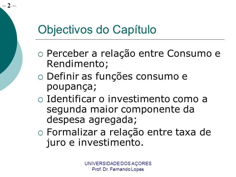 – 2 UNIVERSIDADE DOS AÇORES Prof. Dr. Fernando Lopes Objectivos do Capítulo Perceber a relação entre Consumo e Rendimento; Definir as funções consumo