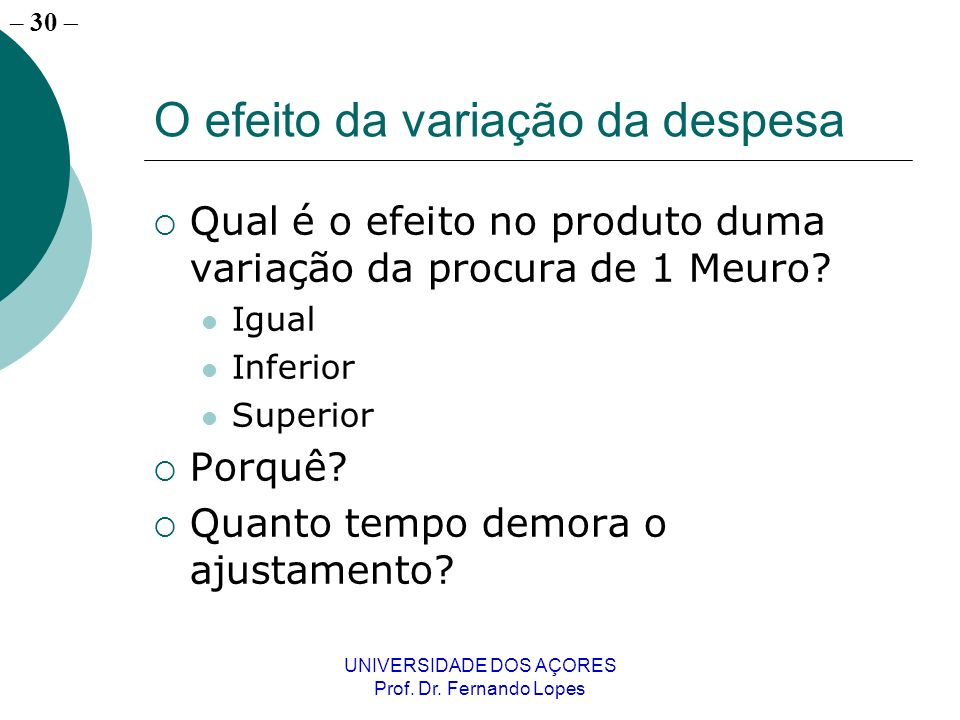 – 30 UNIVERSIDADE DOS AÇORES Prof. Dr. Fernando Lopes O efeito da variação da despesa Qual é o efeito no produto duma variação da procura de 1 Meuro?