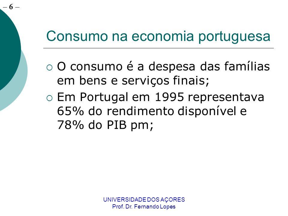 – 6 UNIVERSIDADE DOS AÇORES Prof. Dr. Fernando Lopes Consumo na economia portuguesa O consumo é a despesa das famílias em bens e serviços finais; Em P