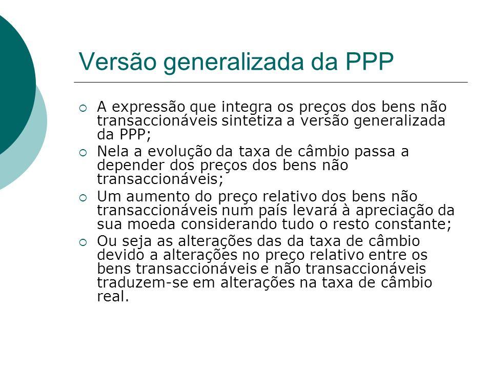 Versão generalizada da PPP A expressão que integra os preços dos bens não transaccionáveis sintetiza a versão generalizada da PPP; Nela a evolução da