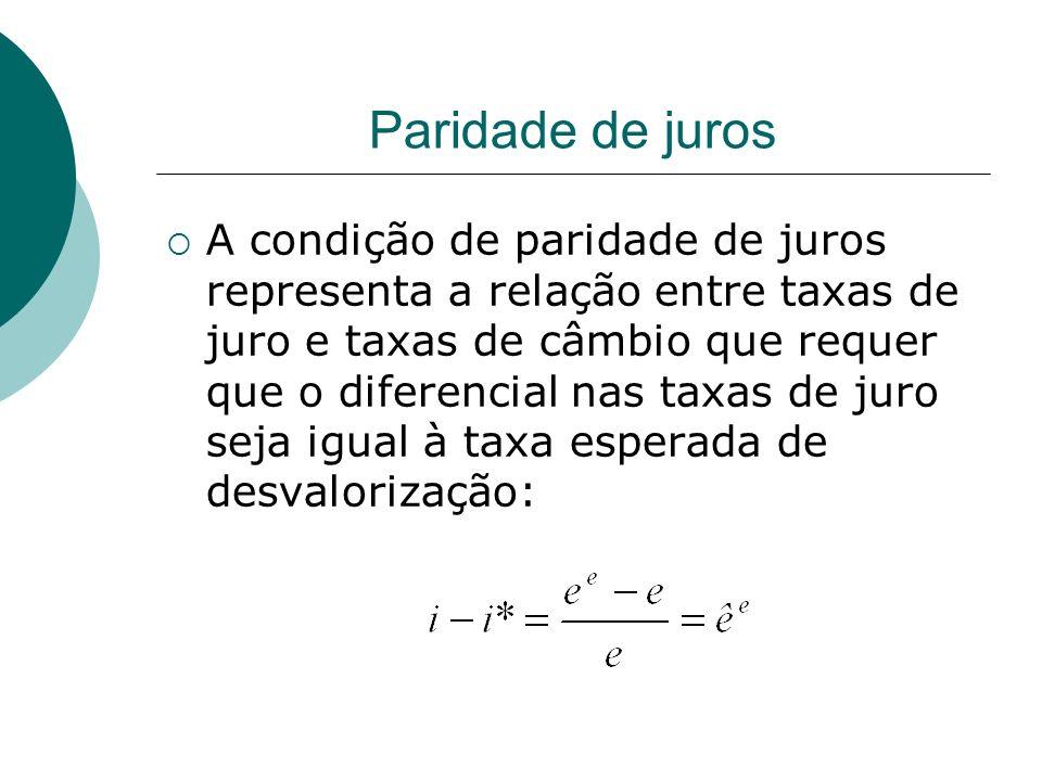 Paridade de juros A condição de paridade de juros representa a relação entre taxas de juro e taxas de câmbio que requer que o diferencial nas taxas de