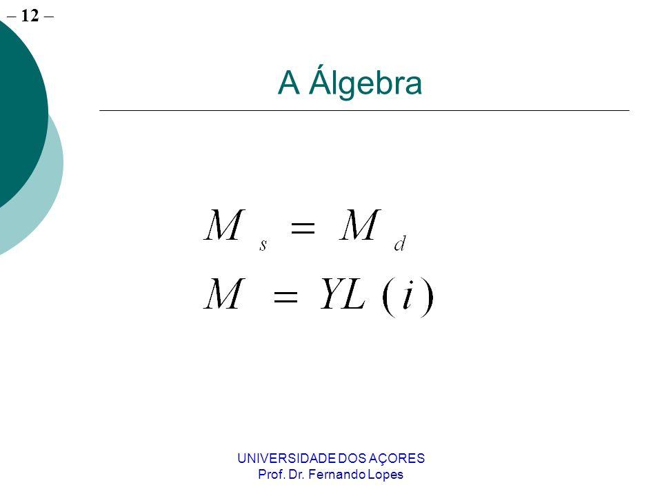– 12 UNIVERSIDADE DOS AÇORES Prof. Dr. Fernando Lopes A Álgebra