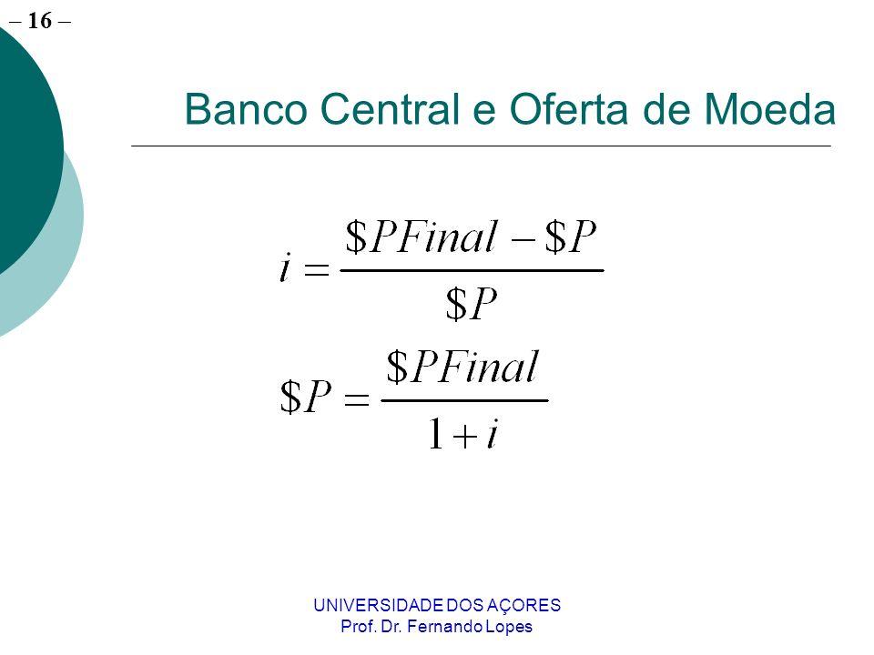 – 16 UNIVERSIDADE DOS AÇORES Prof. Dr. Fernando Lopes Banco Central e Oferta de Moeda