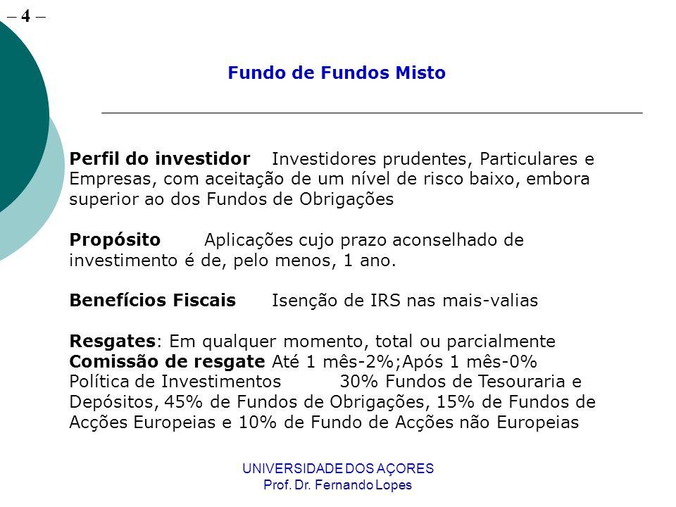 – 4 UNIVERSIDADE DOS AÇORES Prof. Dr. Fernando Lopes Perfil do investidorInvestidores prudentes, Particulares e Empresas, com aceitação de um nível de