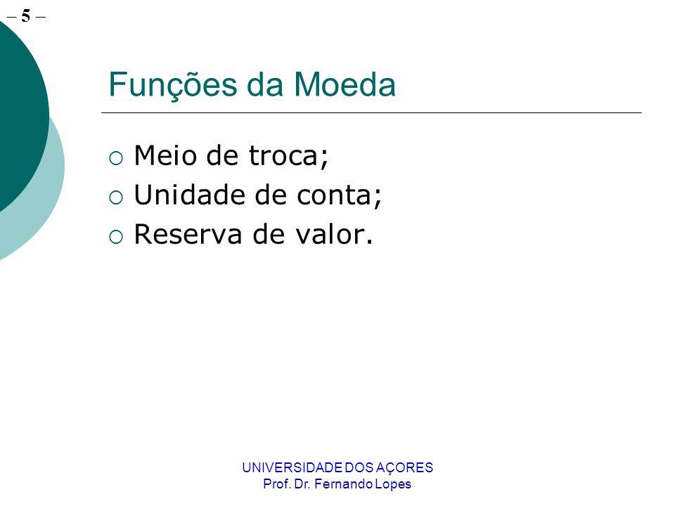 – 5 UNIVERSIDADE DOS AÇORES Prof. Dr. Fernando Lopes Funções da Moeda Meio de troca; Unidade de conta; Reserva de valor.
