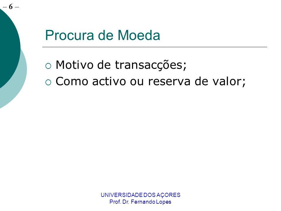 – 6 UNIVERSIDADE DOS AÇORES Prof. Dr. Fernando Lopes Procura de Moeda Motivo de transacções; Como activo ou reserva de valor;