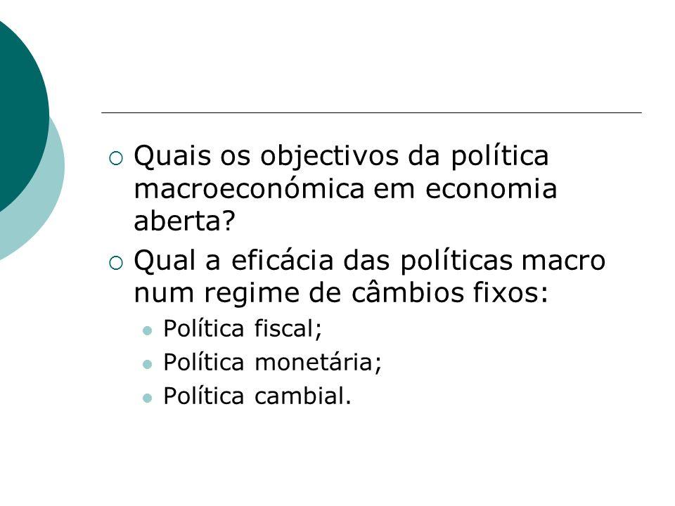 Quais os objectivos da política macroeconómica em economia aberta? Qual a eficácia das políticas macro num regime de câmbios fixos: Política fiscal; P