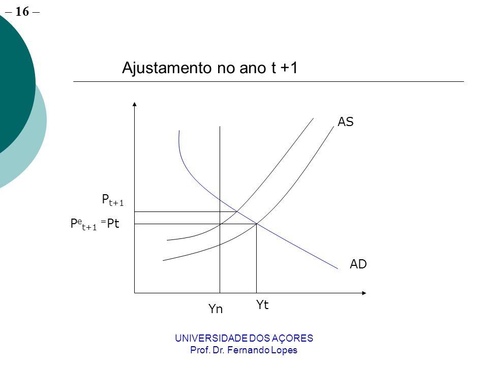 – 16 UNIVERSIDADE DOS AÇORES Prof. Dr. Fernando Lopes AS AD Yt P e t+1 = Pt Yn P t+1 Ajustamento no ano t +1