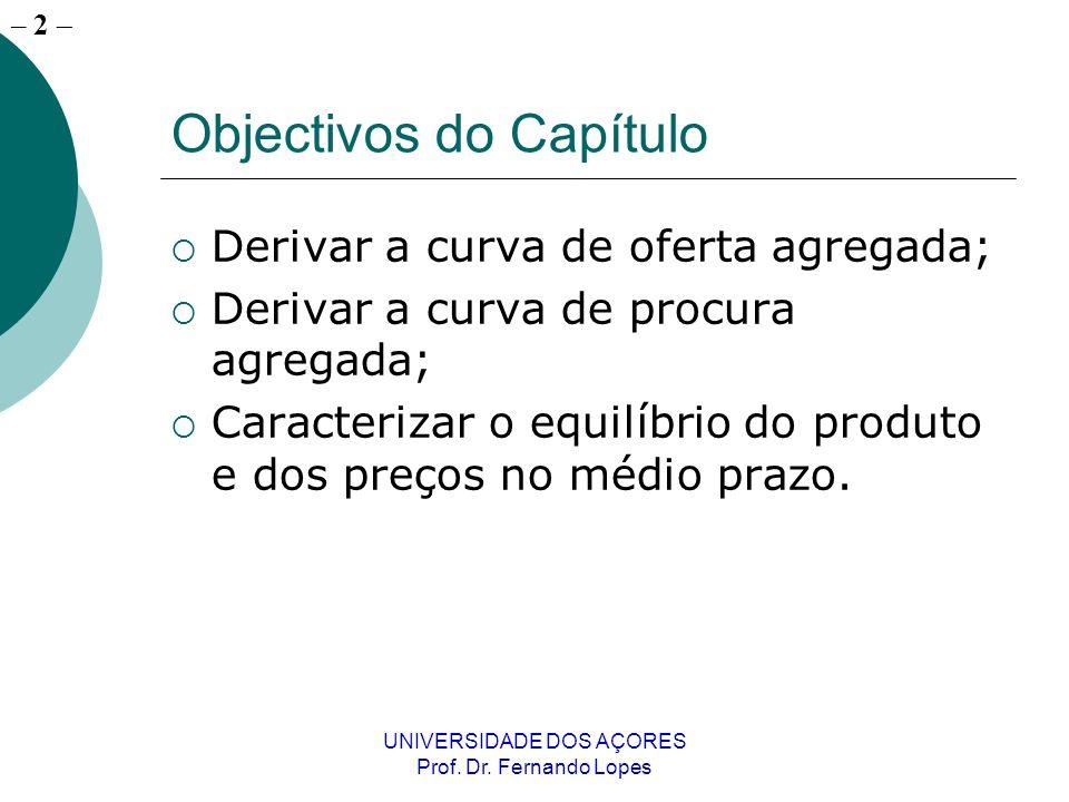 – 2 UNIVERSIDADE DOS AÇORES Prof. Dr. Fernando Lopes Objectivos do Capítulo Derivar a curva de oferta agregada; Derivar a curva de procura agregada; C