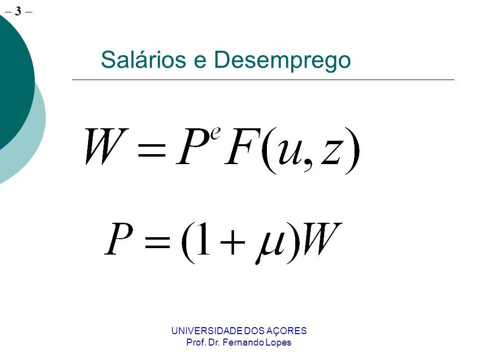 – 3 UNIVERSIDADE DOS AÇORES Prof. Dr. Fernando Lopes Salários e Desemprego