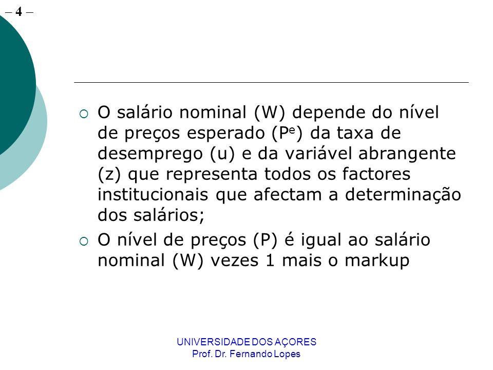 – 4 UNIVERSIDADE DOS AÇORES Prof. Dr. Fernando Lopes O salário nominal (W) depende do nível de preços esperado (P e ) da taxa de desemprego (u) e da v
