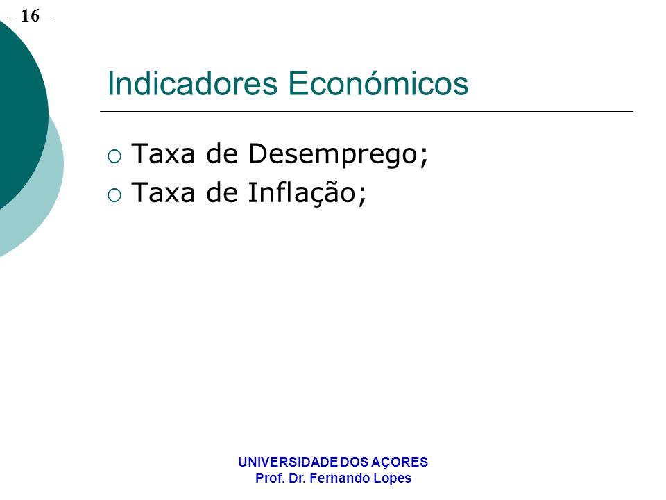 – 16 UNIVERSIDADE DOS AÇORES Prof. Dr. Fernando Lopes Indicadores Económicos Taxa de Desemprego; Taxa de Inflação;