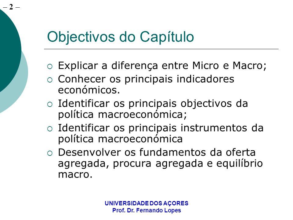 – 2 UNIVERSIDADE DOS AÇORES Prof. Dr. Fernando Lopes Objectivos do Capítulo Explicar a diferença entre Micro e Macro; Conhecer os principais indicador