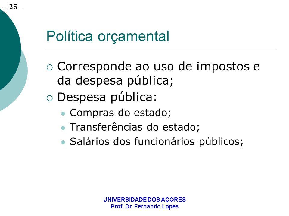 – 25 UNIVERSIDADE DOS AÇORES Prof. Dr. Fernando Lopes Política orçamental Corresponde ao uso de impostos e da despesa pública; Despesa pública: Compra