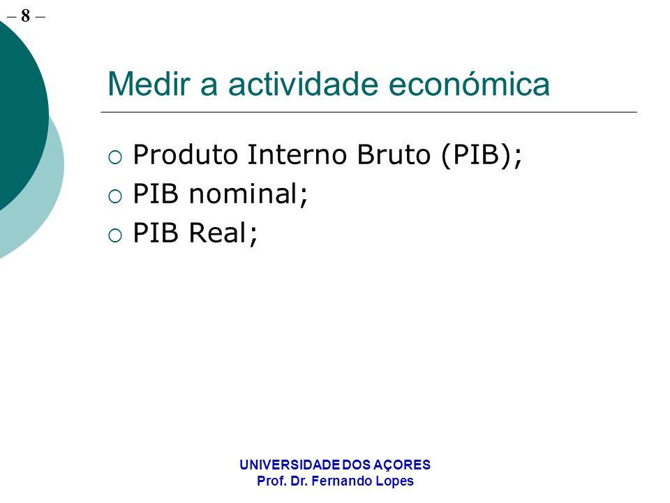 – 8 UNIVERSIDADE DOS AÇORES Prof. Dr. Fernando Lopes Medir a actividade económica Produto Interno Bruto (PIB); PIB nominal; PIB Real;