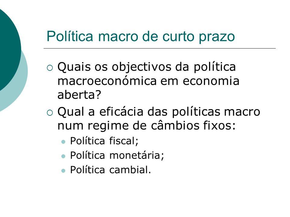 Política macro de curto prazo Quais os objectivos da política macroeconómica em economia aberta? Qual a eficácia das políticas macro num regime de câm