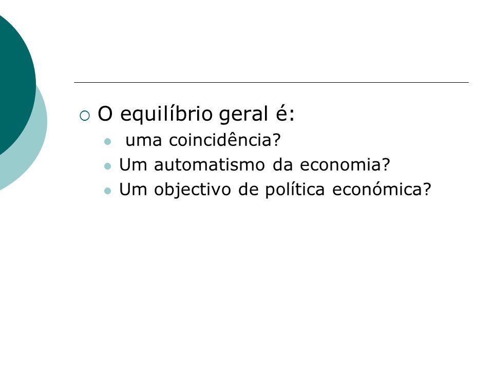 O equilíbrio geral é: uma coincidência? Um automatismo da economia? Um objectivo de política económica?