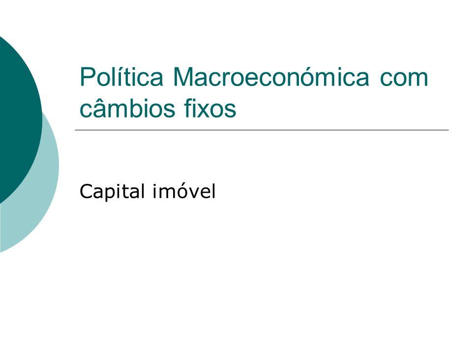 1 2 IS BOP LM 0 LM 1 Y i BOP Política monetária com mobilidade imperfeita de capital