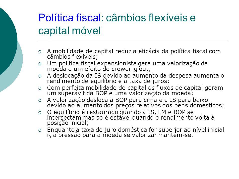 Política fiscal: câmbios flexíveis e capital móvel A mobilidade de capital reduz a eficácia da política fiscal com câmbios flexíveis; Um política fisc