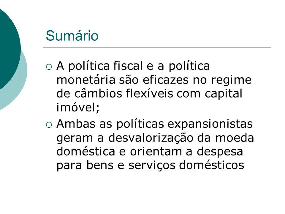 Sumário A política fiscal e a política monetária são eficazes no regime de câmbios flexíveis com capital imóvel; Ambas as políticas expansionistas ger