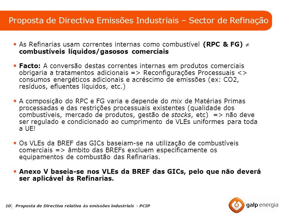 10 Proposta de Directiva relativa às emissões industriais - PCIP As Refinarias usam correntes internas como combustível (RPC & FG) combustíveis líquid