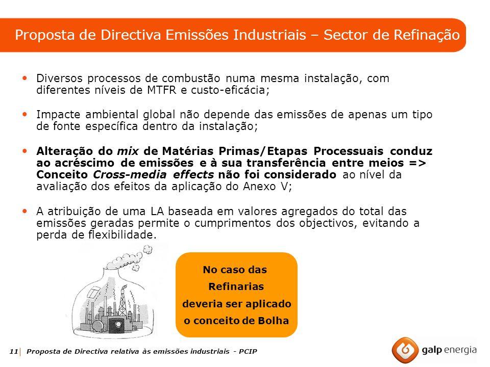 11 Proposta de Directiva relativa às emissões industriais - PCIP Diversos processos de combustão numa mesma instalação, com diferentes níveis de MTFR