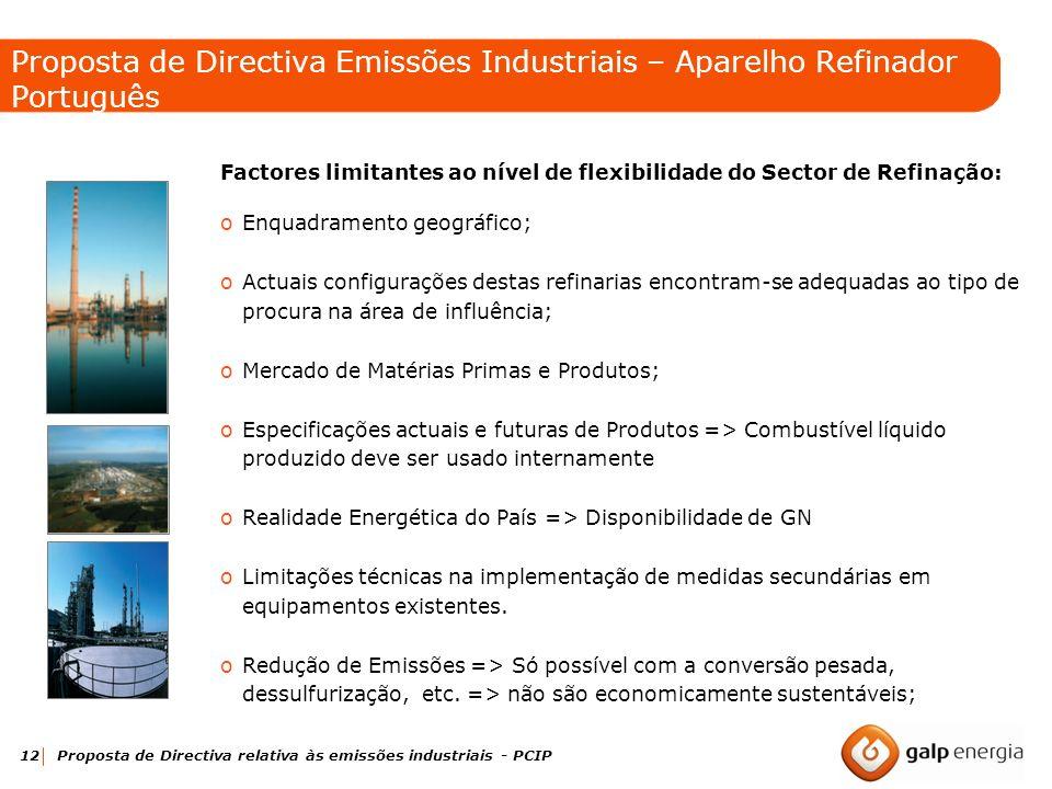 12 Proposta de Directiva relativa às emissões industriais - PCIP Factores limitantes ao nível de flexibilidade do Sector de Refinação: oEnquadramento