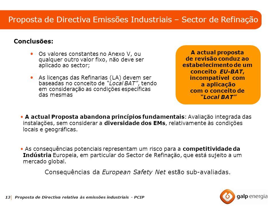 13 Proposta de Directiva relativa às emissões industriais - PCIP Conclusões: Os valores constantes no Anexo V, ou qualquer outro valor fixo, não deve