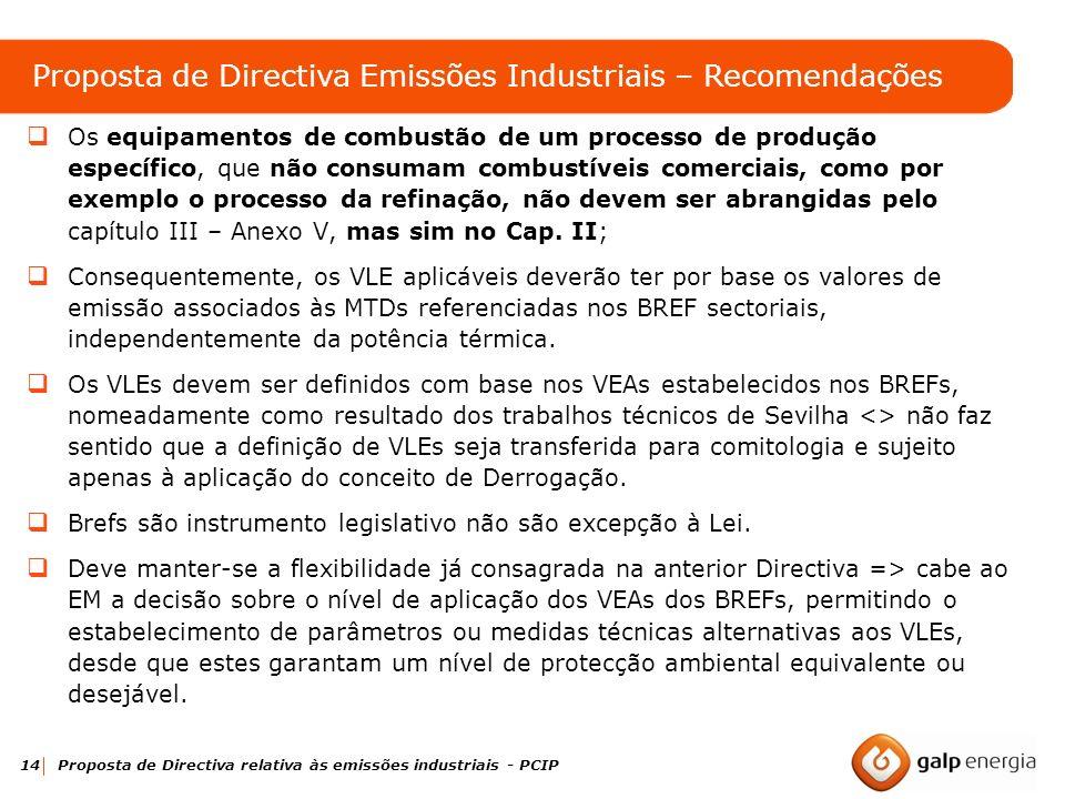 14 Proposta de Directiva relativa às emissões industriais - PCIP Os equipamentos de combustão de um processo de produção específico, que não consumam